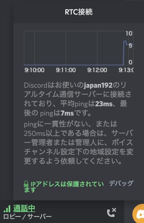 Discord 通信速度 確認画面