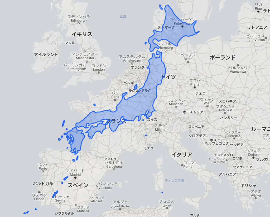 日本 ヨーロッパ サイズ 比較 地図