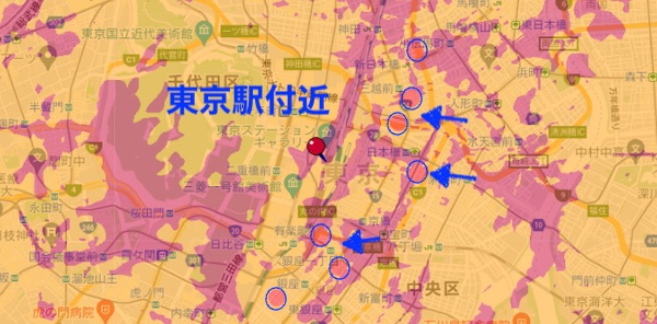 ドコモ ミリ波エリア 東京駅付近